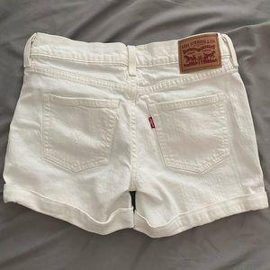 LEVI white denim shorts